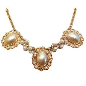 Vintage Pearl Necklace Chain Bead Rhinestones